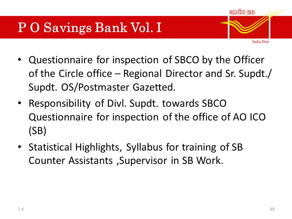 P O Savings Bank Vol. I