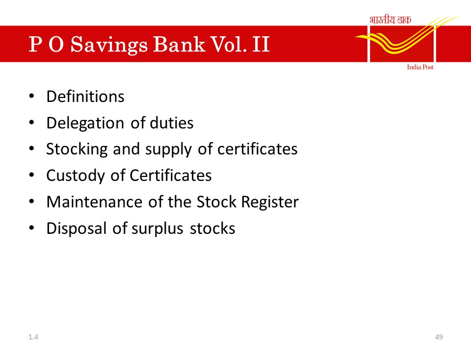 P O Savings Bank Vol. II Definitions Delegation of duties