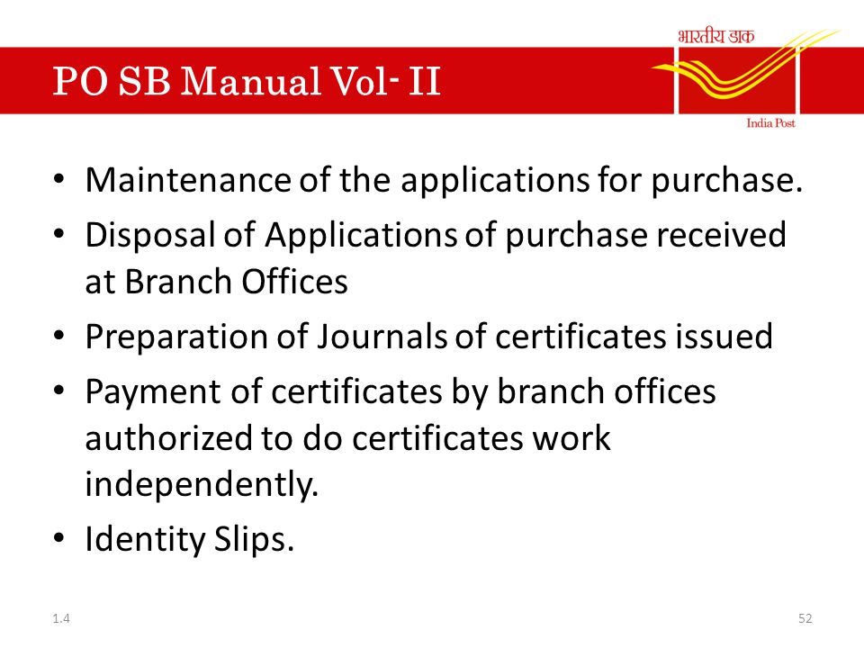 Maintenance of the applications for purchase.