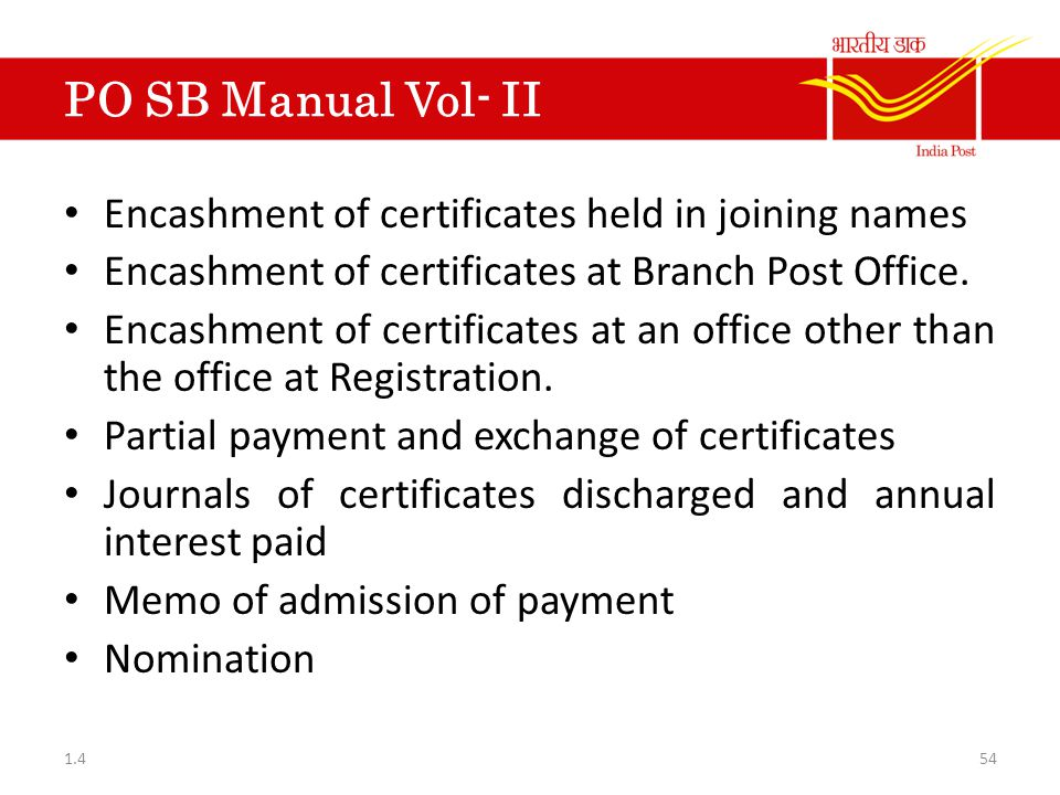 PO SB Manual Vol- II Encashment of certificates held in joining names