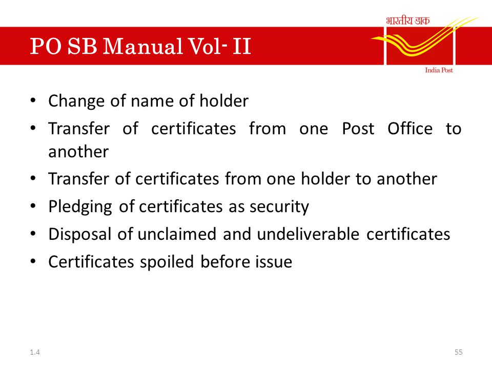 PO SB Manual Vol- II Change of name of holder