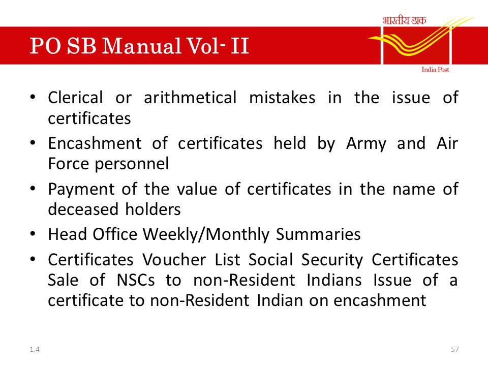 PO SB Manual Vol- II Clerical or arithmetical mistakes in the issue of certificates. Encashment of certificates held by Army and Air Force personnel.