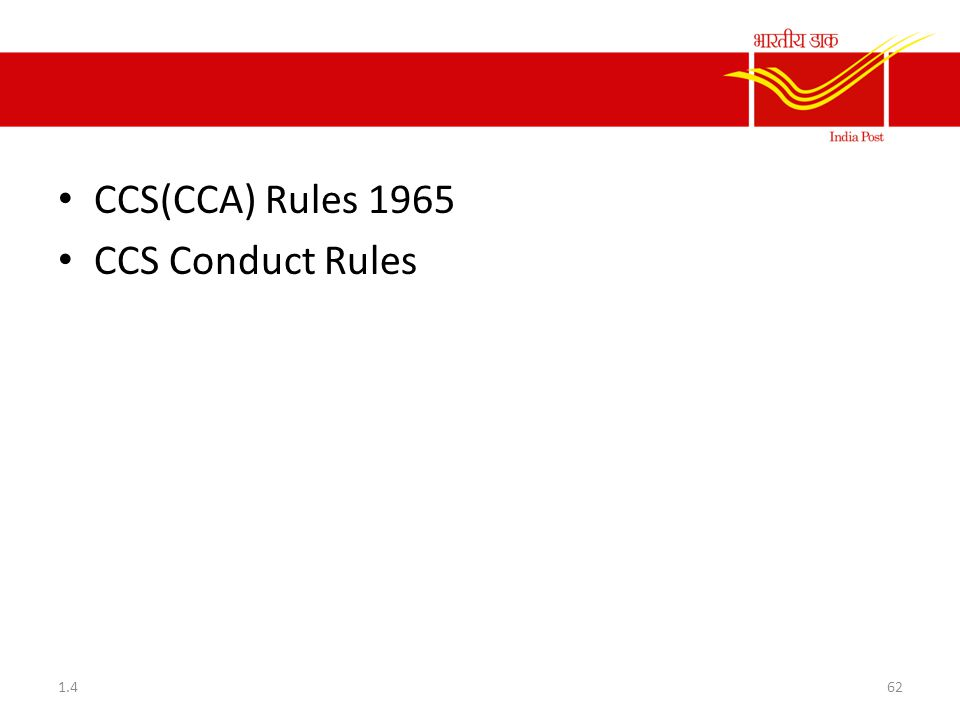 CCS(CCA) Rules 1965 CCS Conduct Rules 1.4