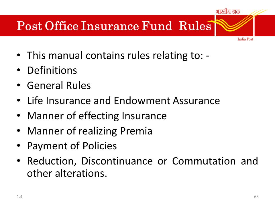 Post Office Insurance Fund Rules