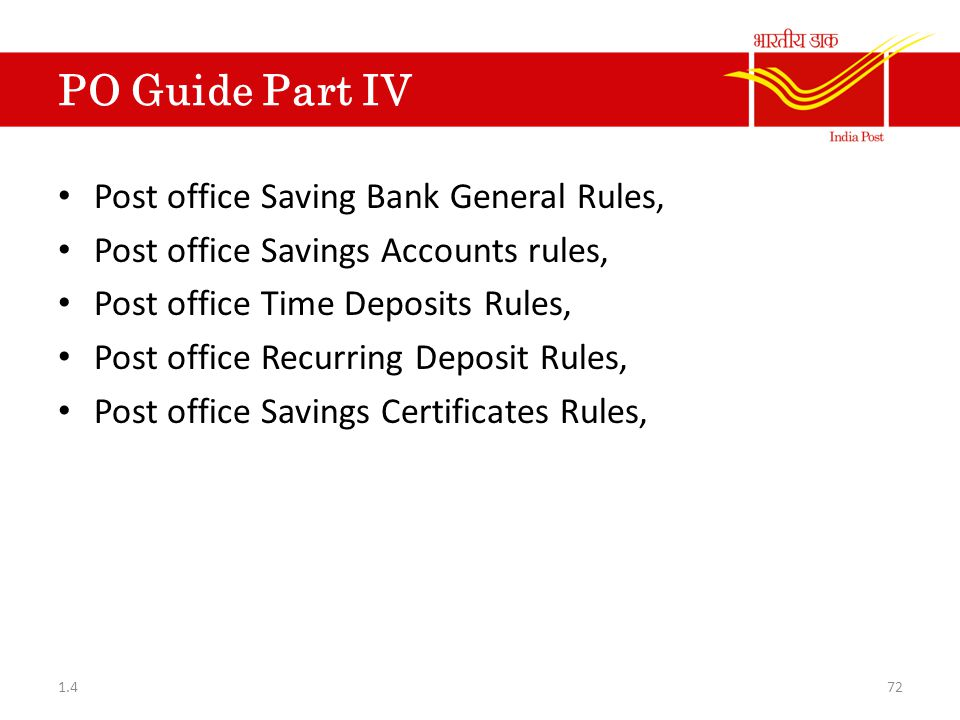 PO Guide Part IV Post office Saving Bank General Rules,