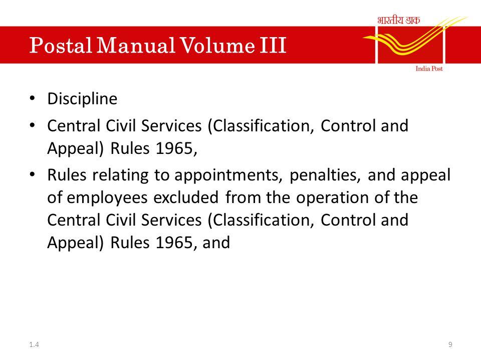 Postal Manual Volume III