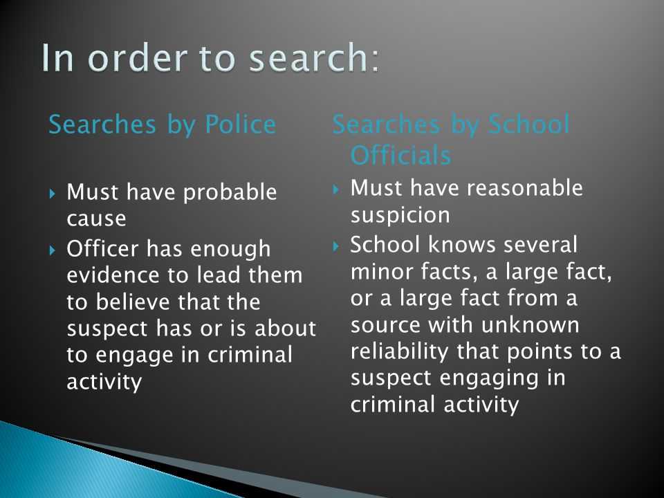 In order to search: Searches by Police Searches by School Officials