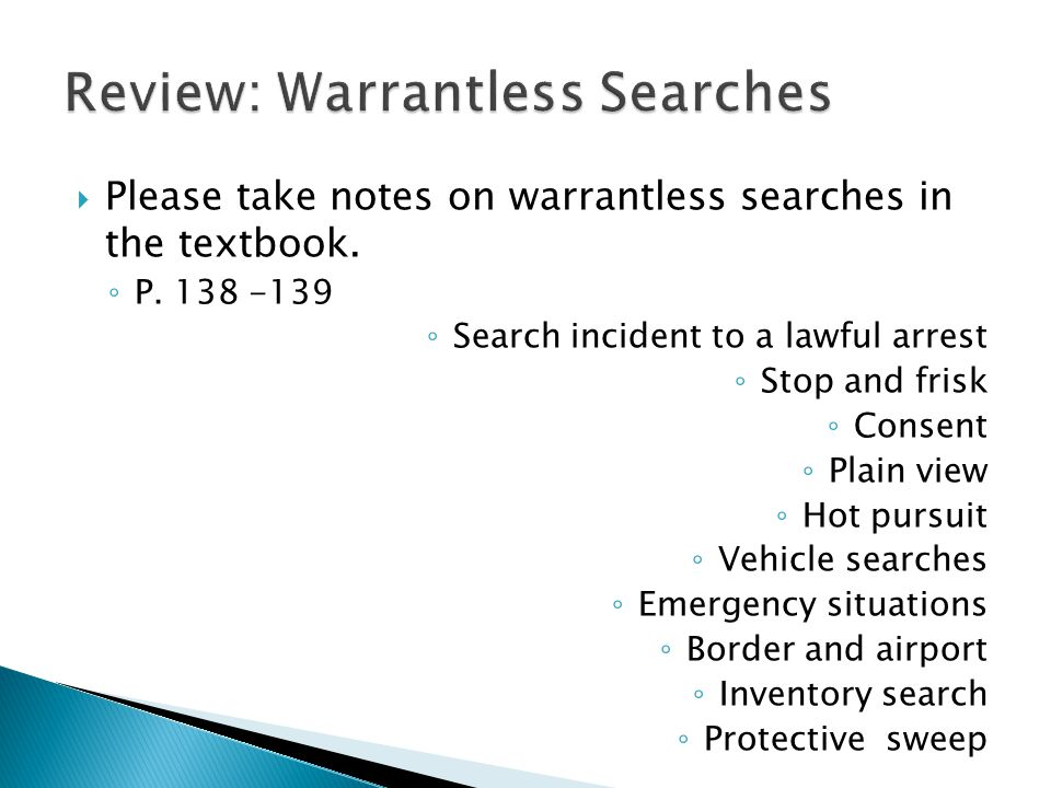 Review: Warrantless Searches