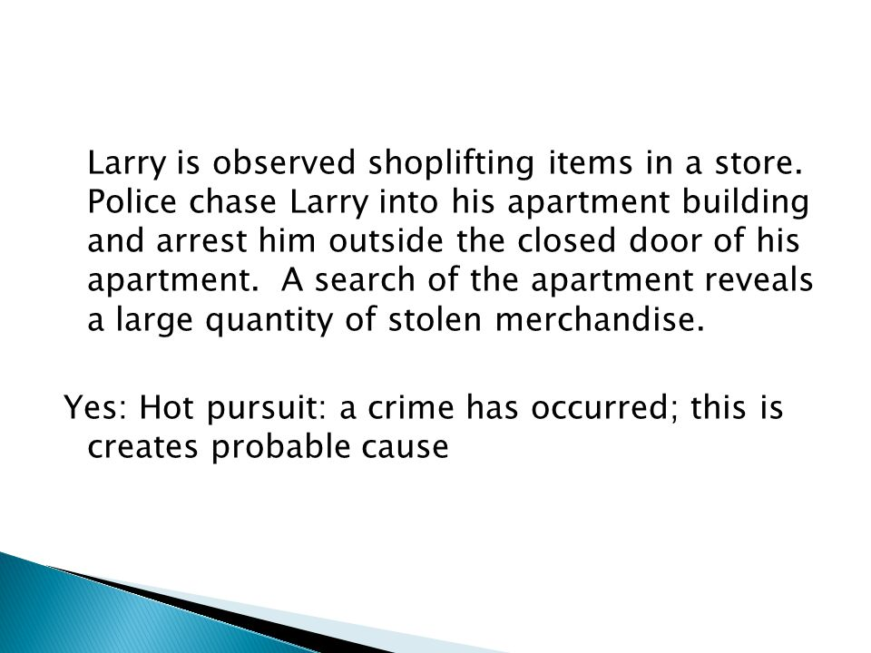Larry is observed shoplifting items in a store