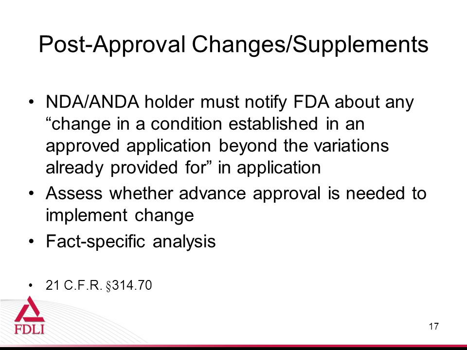 Post-Approval Changes/Supplements