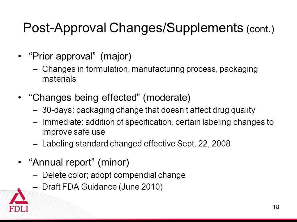 Post-Approval Changes/Supplements (cont.)