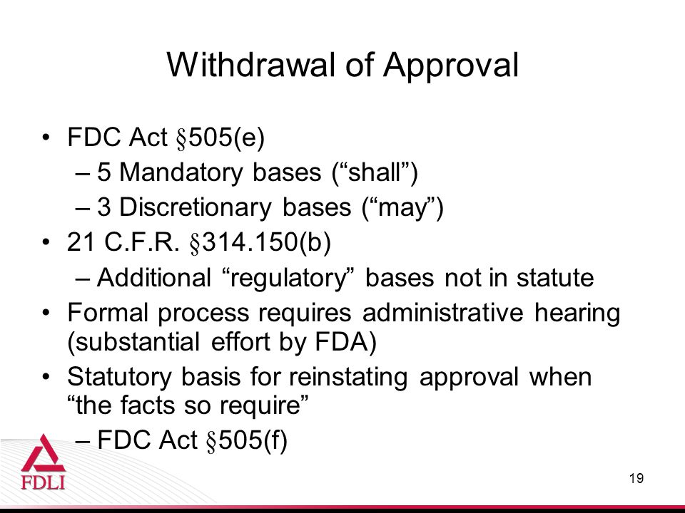 Withdrawal of Approval