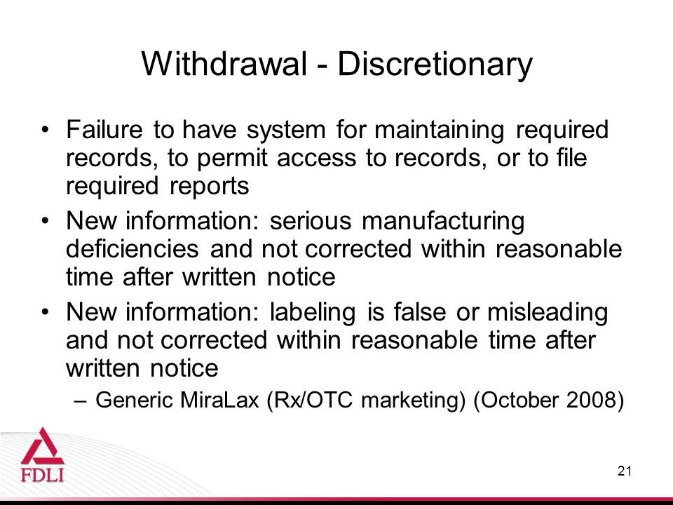 Withdrawal - Discretionary
