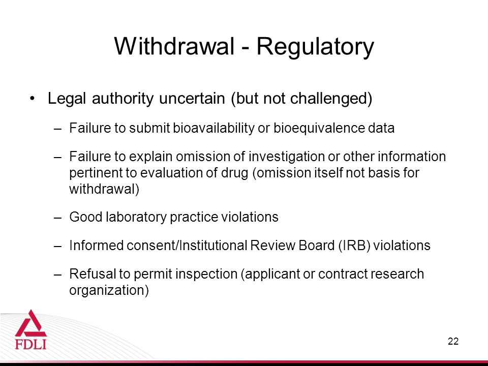 Withdrawal - Regulatory