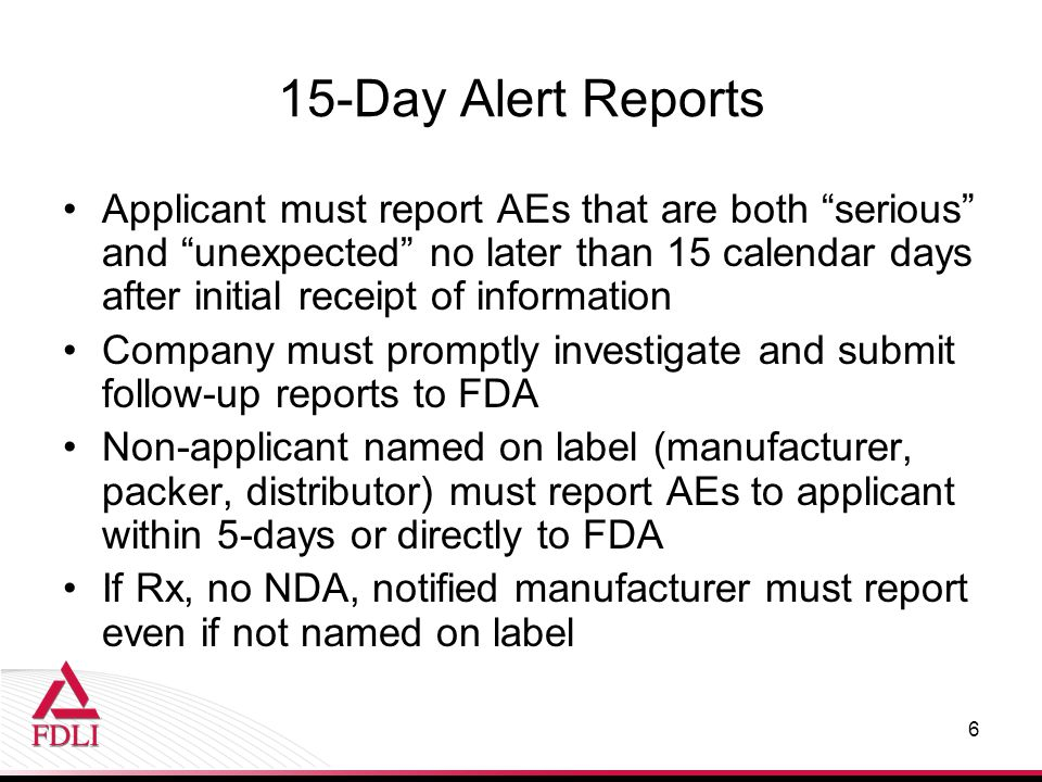 15-Day Alert Reports