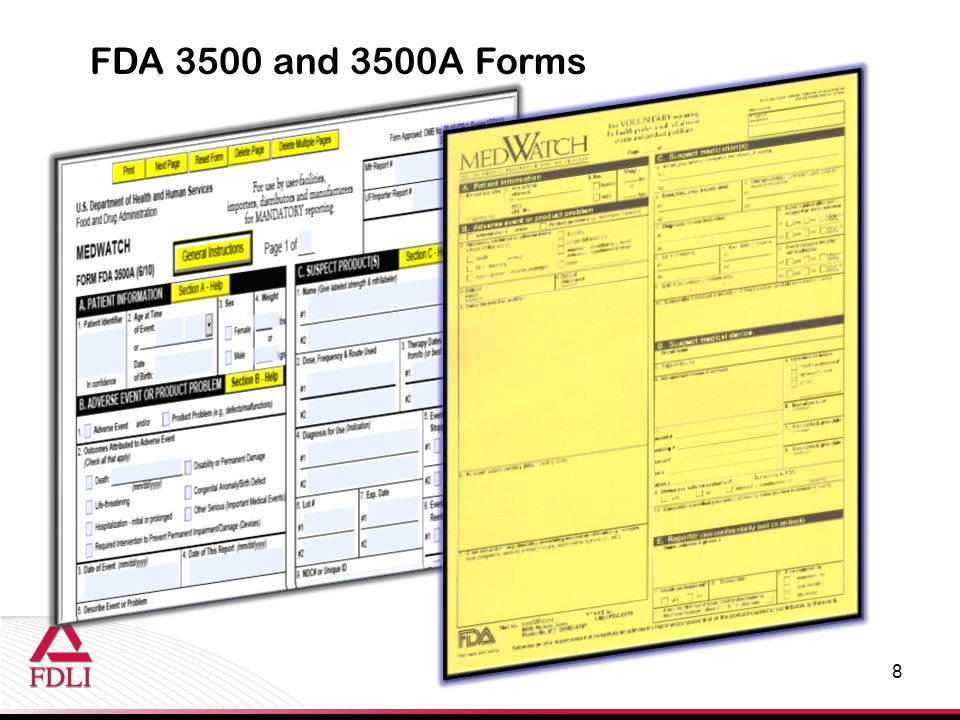 FDA 3500 and 3500A Forms