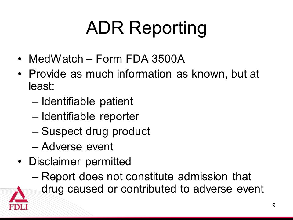 ADR Reporting MedWatch – Form FDA 3500A