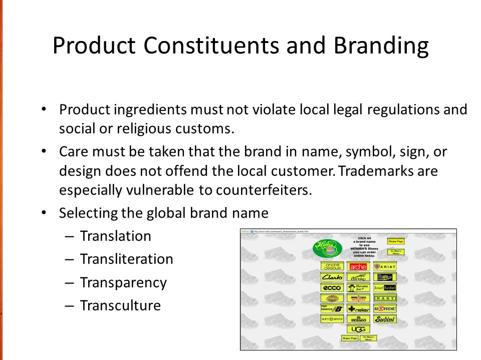 Product Constituents and Branding