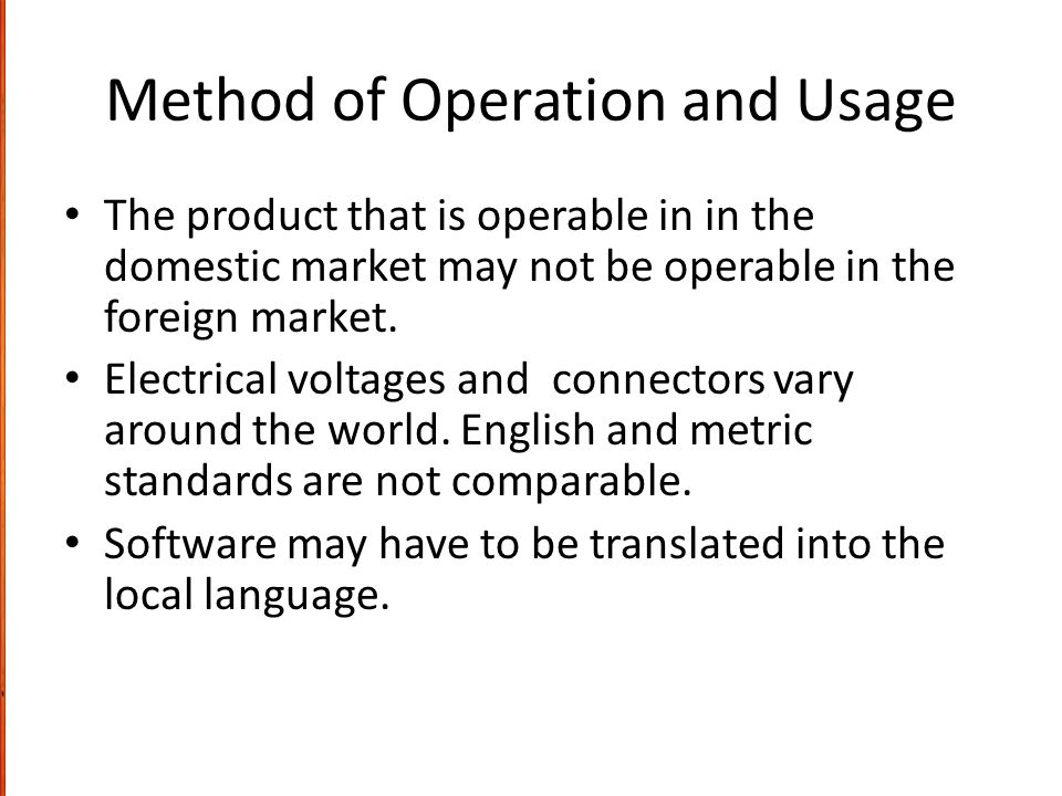 Method of Operation and Usage