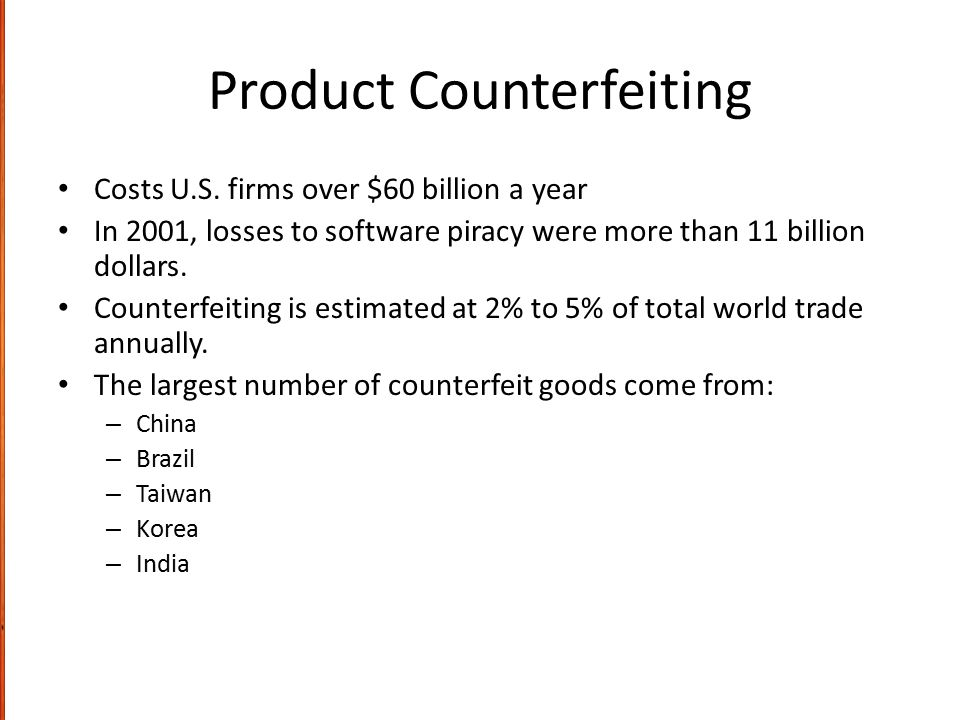 Product Counterfeiting