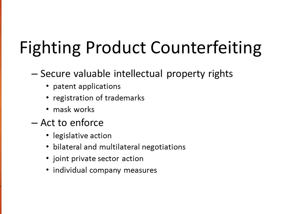 Fighting Product Counterfeiting