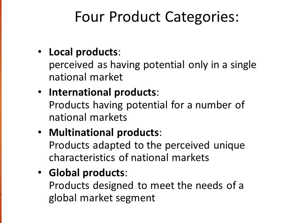 Four Product Categories: