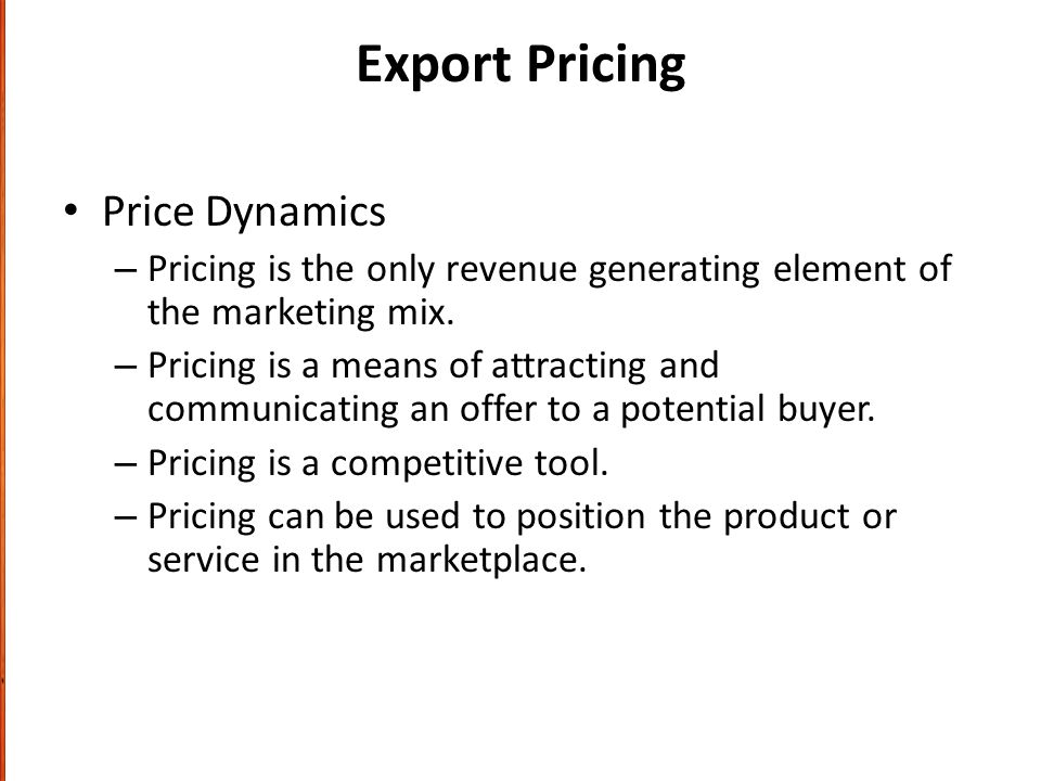 Export Pricing Price Dynamics