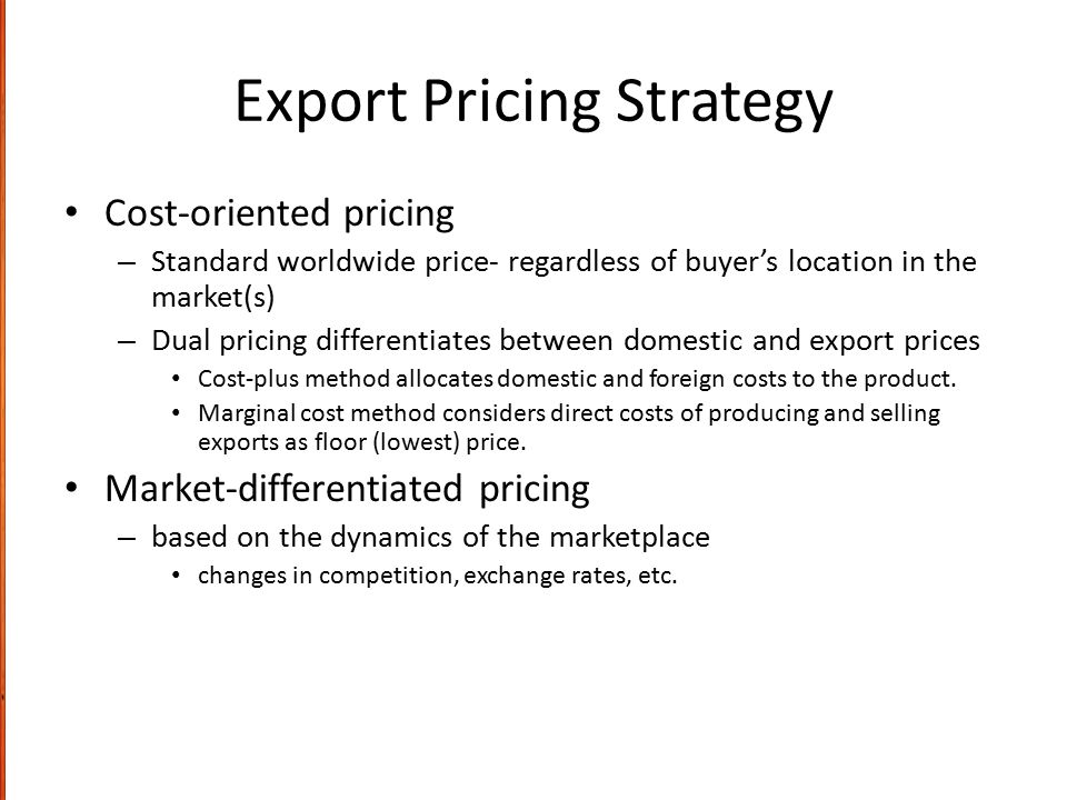 Export Pricing Strategy