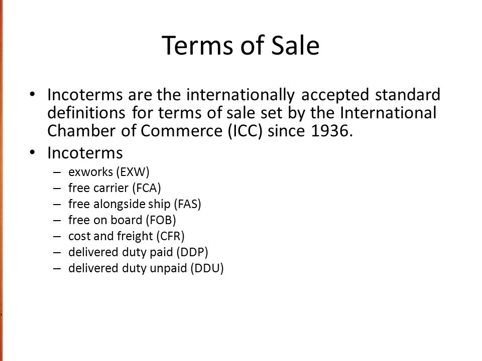 Terms of Sale
