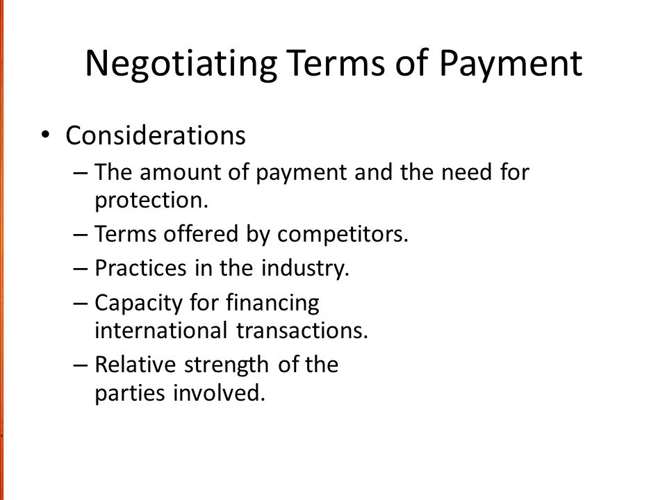 Negotiating Terms of Payment