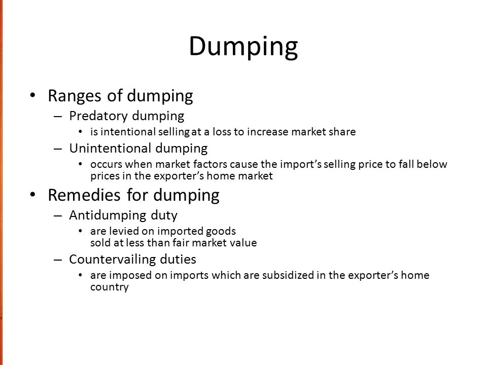 Dumping Ranges of dumping Remedies for dumping Predatory dumping