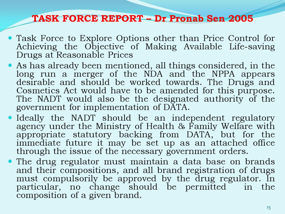 TASK FORCE REPORT – Dr Pronab Sen 2005