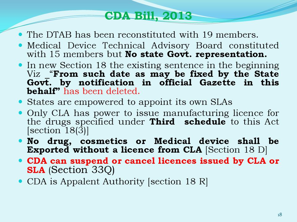 CDA Bill, 2013 The DTAB has been reconstituted with 19 members.