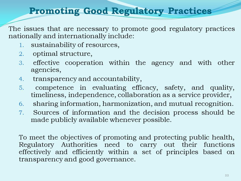Promoting Good Regulatory Practices