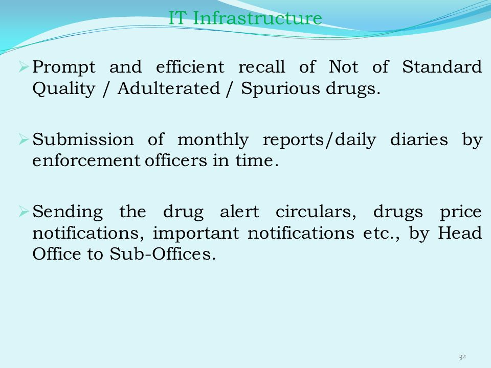 IT Infrastructure Prompt and efficient recall of Not of Standard Quality / Adulterated / Spurious drugs.