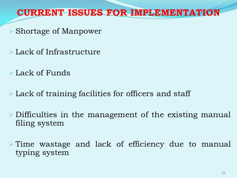 CURRENT ISSUES FOR IMPLEMENTATION