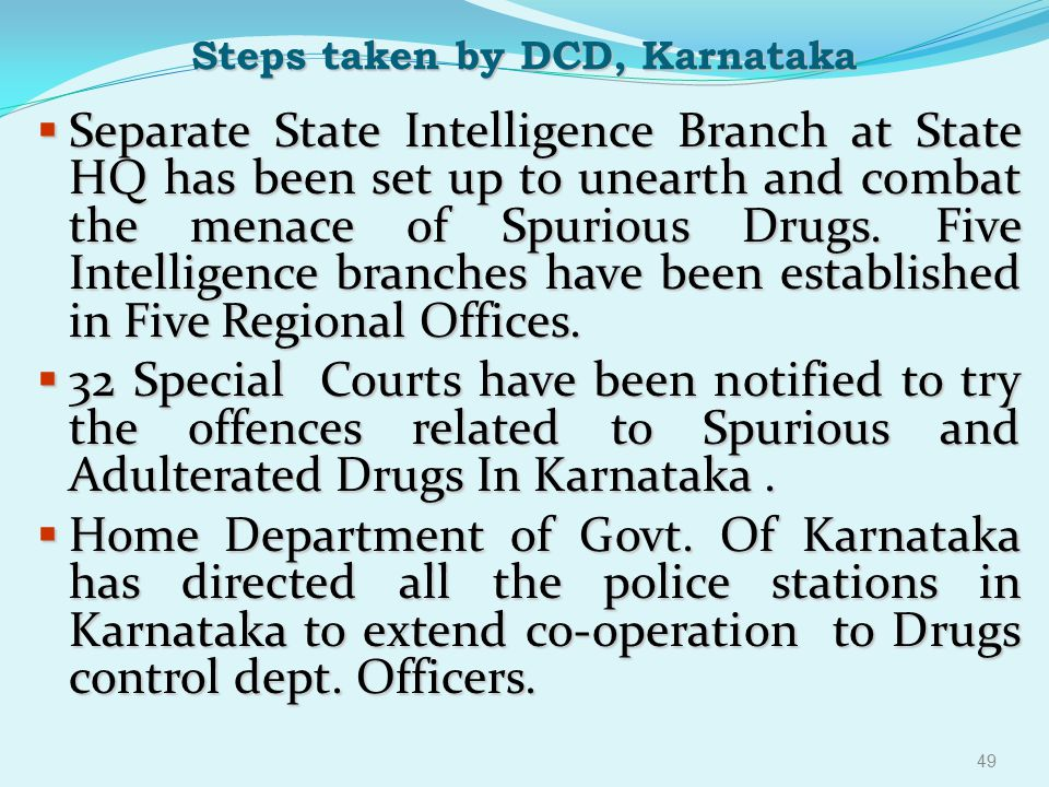 Steps taken by DCD, Karnataka