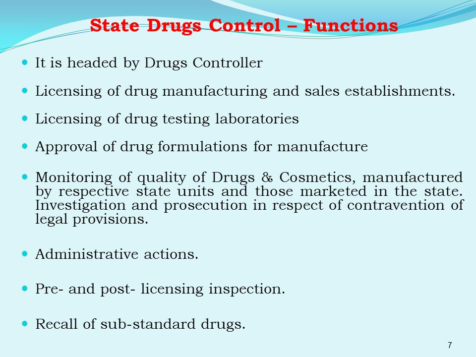 State Drugs Control – Functions