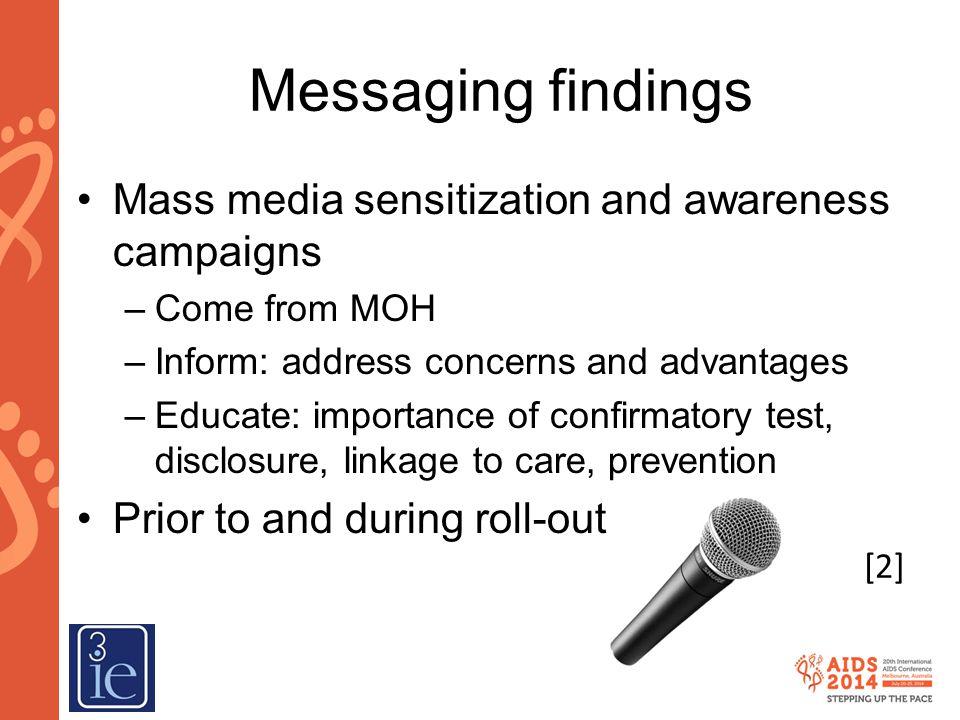 Messaging findings Mass media sensitization and awareness campaigns