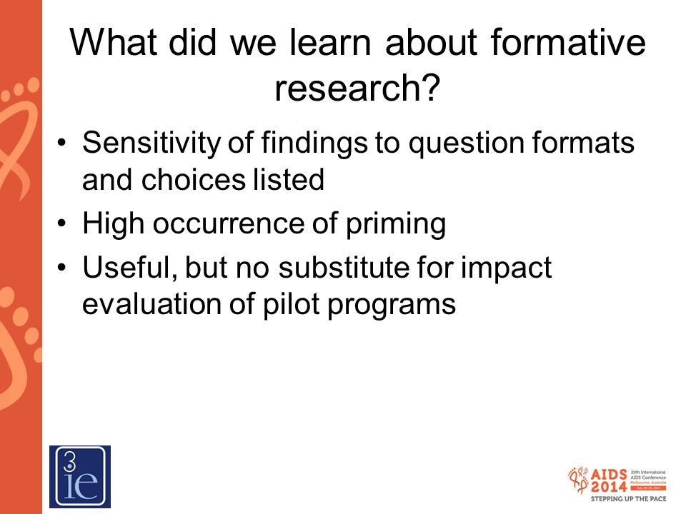 What did we learn about formative research
