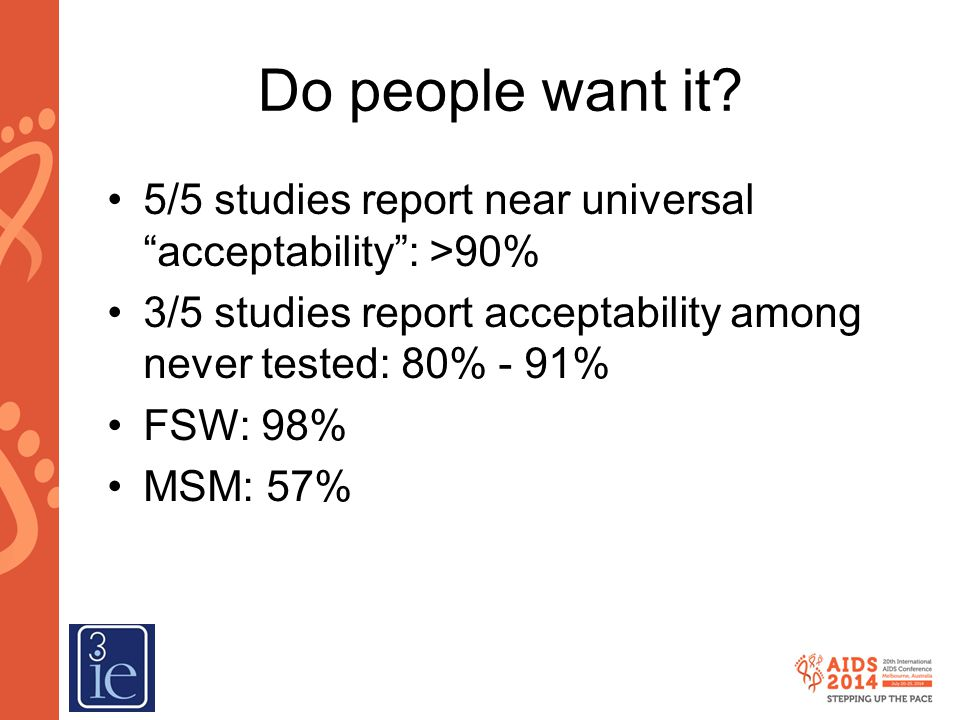 Do people want it 5/5 studies report near universal acceptability : >90% 3/5 studies report acceptability among never tested: 80% - 91%