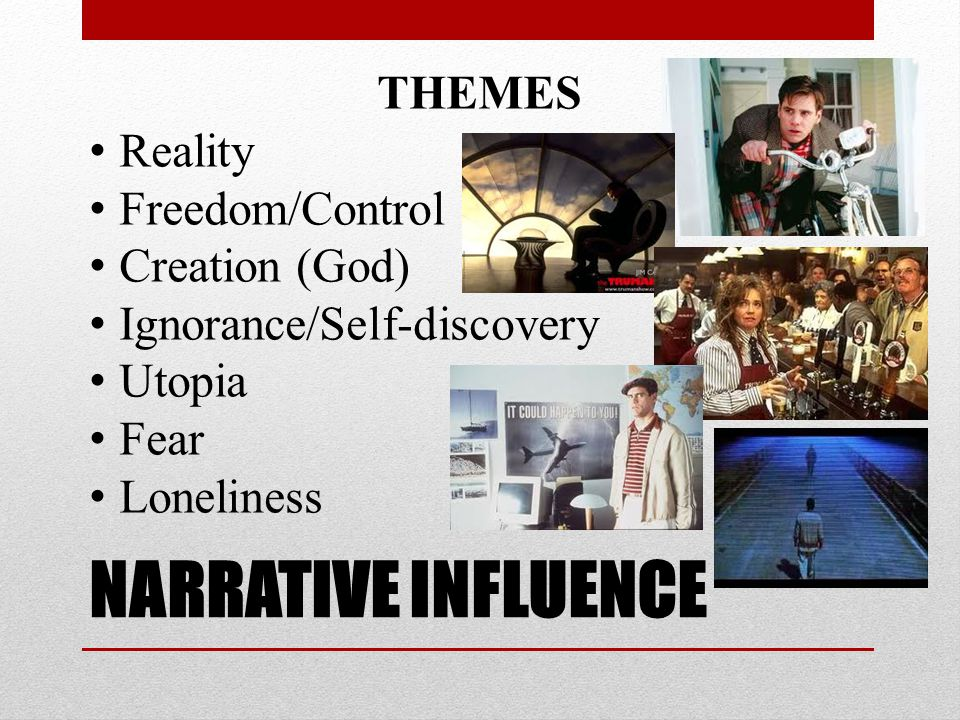 NARRATIVE INFLUENCE THEMES Reality Freedom/Control Creation (God)