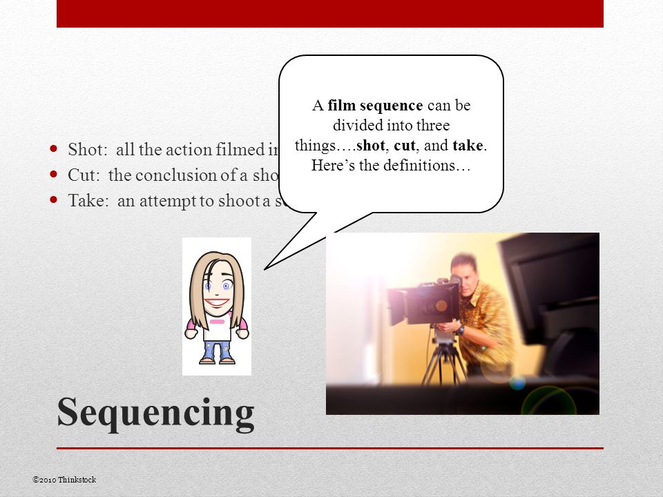 Sequencing Shot: all the action filmed in one take without disruption