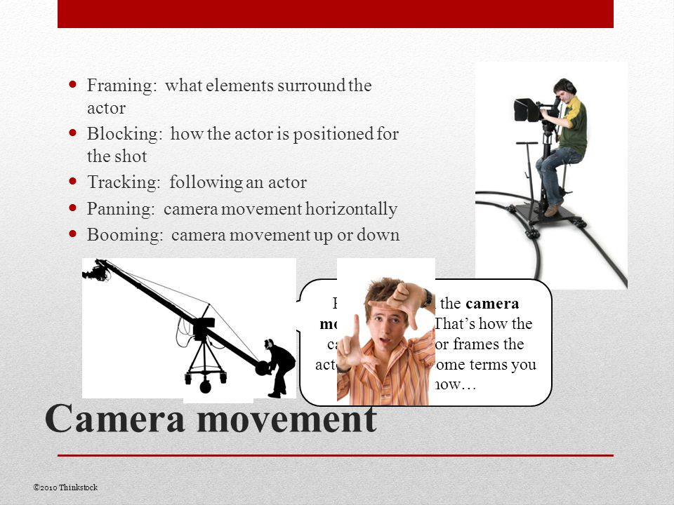 Camera movement Framing: what elements surround the actor