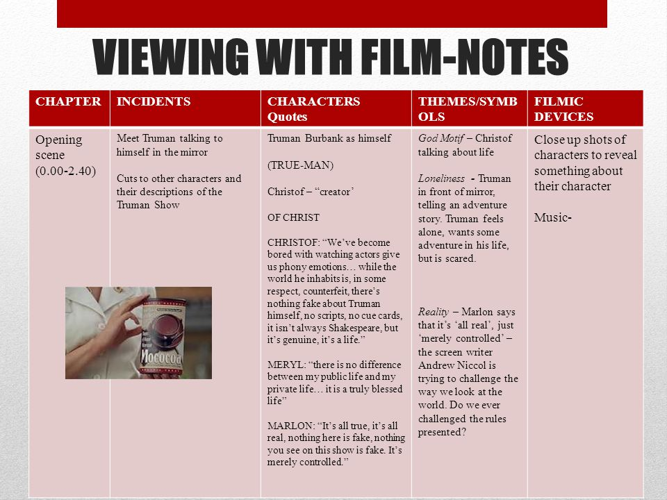 VIEWING WITH FILM-NOTES