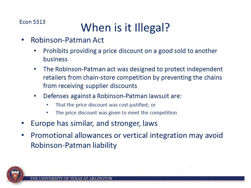 When is it Illegal Robinson-Patman Act