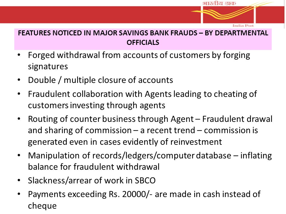 Forged withdrawal from accounts of customers by forging signatures