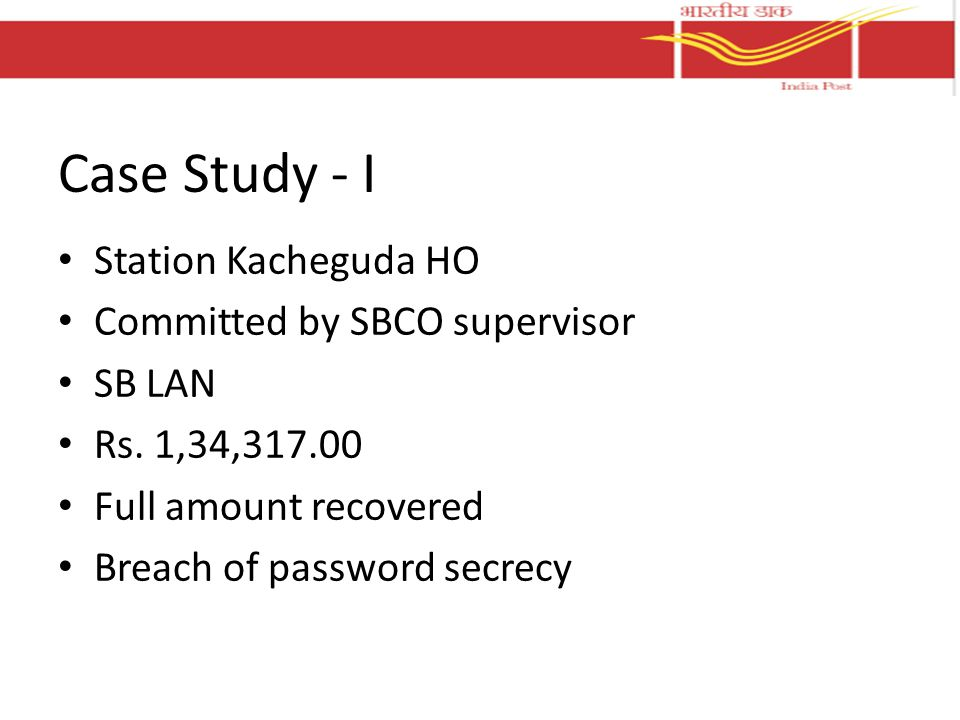 Case Study - I Station Kacheguda HO Committed by SBCO supervisor