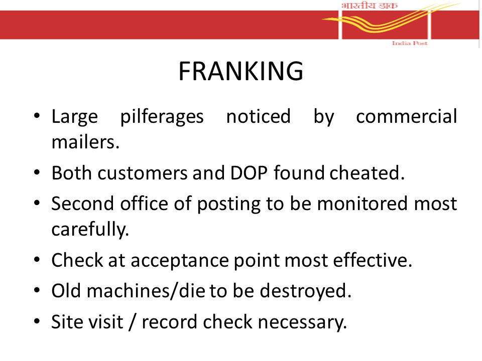FRANKING Large pilferages noticed by commercial mailers.