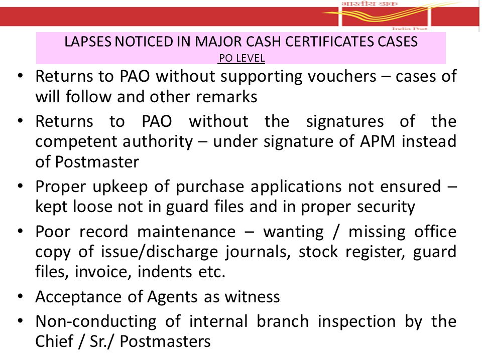 LAPSES NOTICED IN MAJOR CASH CERTIFICATES CASES PO LEVEL